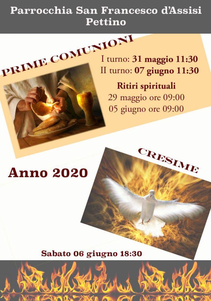 COMUNIONI E CRE4SIME 2020